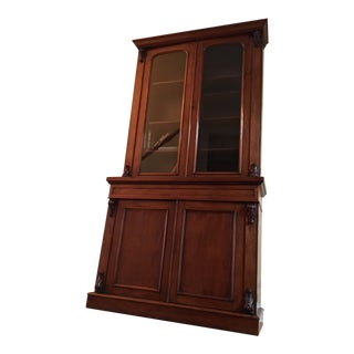 Vintage 19th Century Traditional Mahogany Bookcase or China Cabinet For Sale