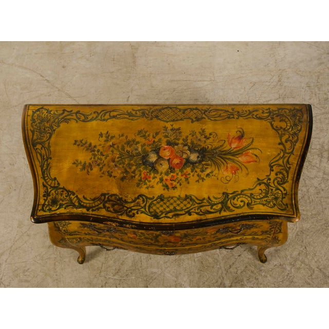 Italian Louis XV Rococo Style Antique Painted Bombè Chest circa 1885 For Sale - Image 9 of 10