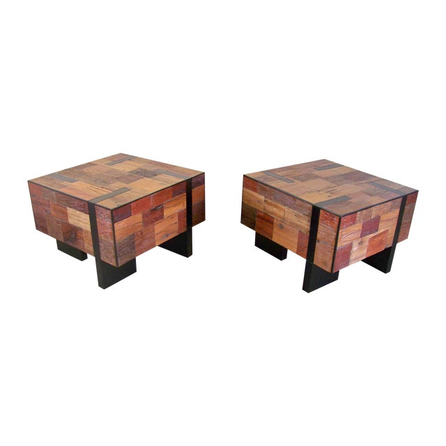 Reclaimed Wood End Tables - A Pair - Image 1 of 6