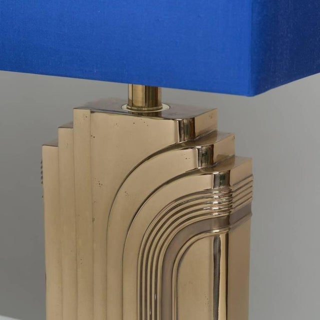 Single Art Deco Style Brass Table Lamp 1970s - Image 4 of 4
