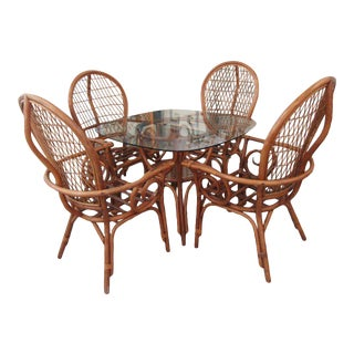 Island Style Rattan Breakfast Set - 5 Pieces For Sale