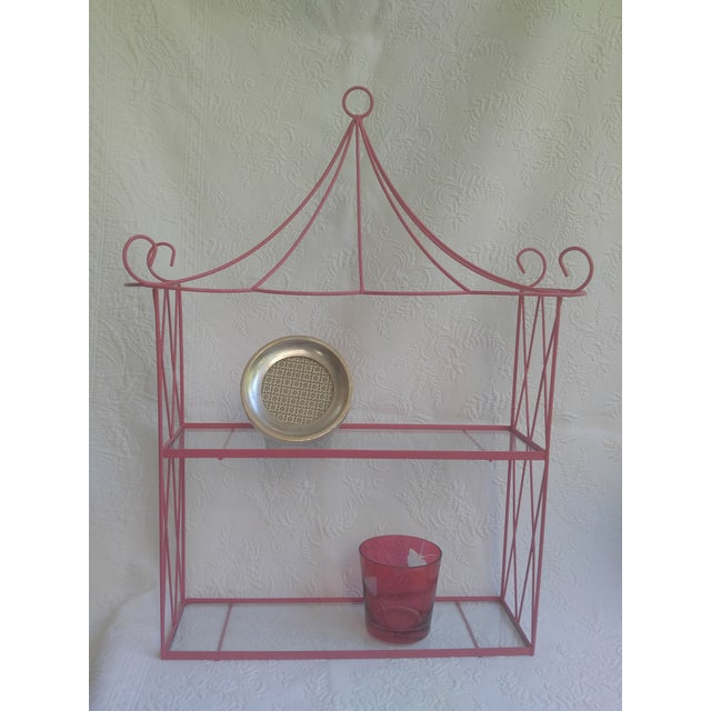Vintage Pink Tole Pagoda Wall Shelf For Sale - Image 4 of 7