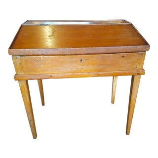 19th Century Early American Pine School Desk For Sale