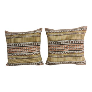 Pair of Vintage Mod Graphic Yellow, Brown and Orange Printed Decorative Linen Square Pillows