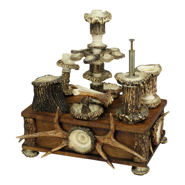 An Elaborate Handmade Black Forest Style Smoking Set Ca. 1900 For Sale