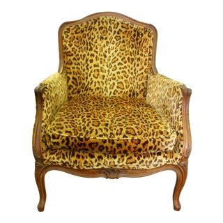 Leopard Print French Bergere For Sale