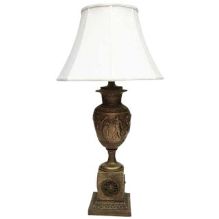 19th Century Victorian Urn Shaped Brass Table Lamp For Sale