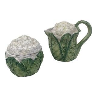 Italian Ceramic Cauliflower Pitcher and Bowl Set - 2 Pieces For Sale
