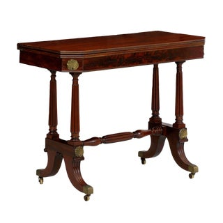English Regency Mahogany Console Antique Card Table, Circa 1815 For Sale