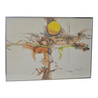 Rembrandt Fantasy Lithograph w/ Hand Watercolors c.1967 For Sale