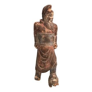Antique Asian Wooden Warrior Sculpture For Sale