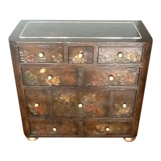 Asian Floral Embossed Chest of Drawers For Sale