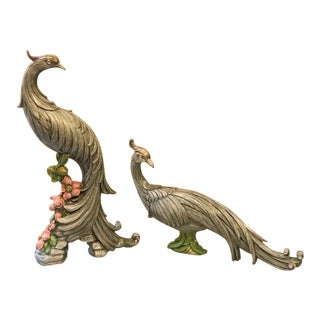 1950s Syroco Peacock Figurines - a Pair For Sale