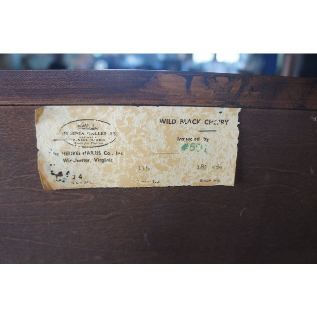 1982 Henkel Harris Chippendale Wild Black Cherry Tallboy Dresser For Sale - Image 10 of 13