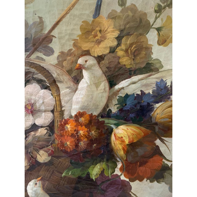 Traditional Still Life of Flower and Doves in Amazing Oak Frame For Sale - Image 3 of 13