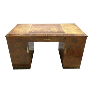 Antique French Art Deco Veneered Maple Knee-Hole Writing Desk For Sale