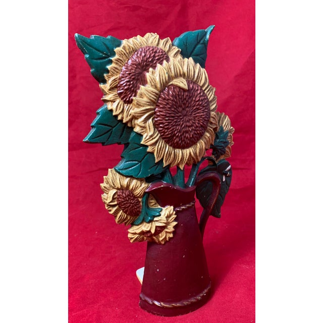 Metal Vintage Mid Century Hand Painted Sunflowers Cast Iron Door Stop For Sale - Image 7 of 12