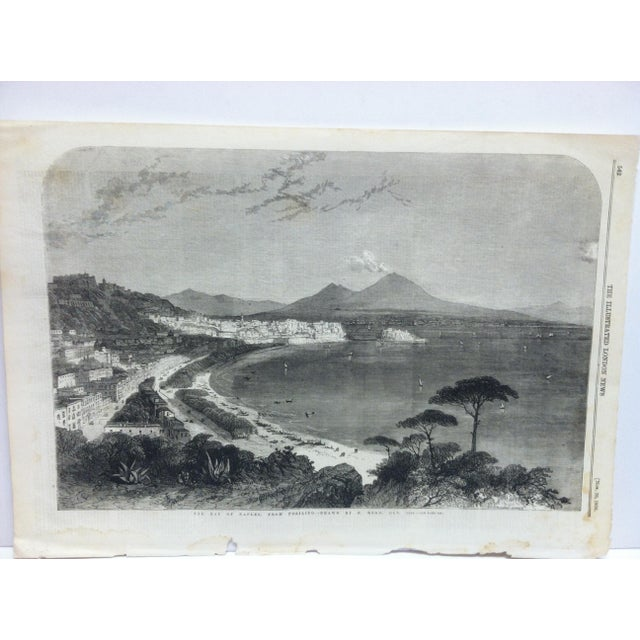 """This is an Antique Original Print from The Illustrated London News that is titled """"The Bay of Naples - from Posilipo"""" and..."""