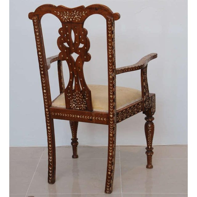 Rare Set of Four Anglo-Indian Hardwood and Bone Inlaid Armchairs For Sale - Image 4 of 11