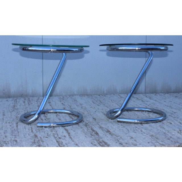 Mid-Century Modern 1970s Tubular Chrome Side Table For Sale - Image 3 of 9