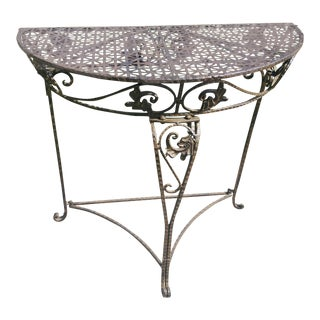 19th Century Hand Forged Wrought Iron Half Moon Table For Sale