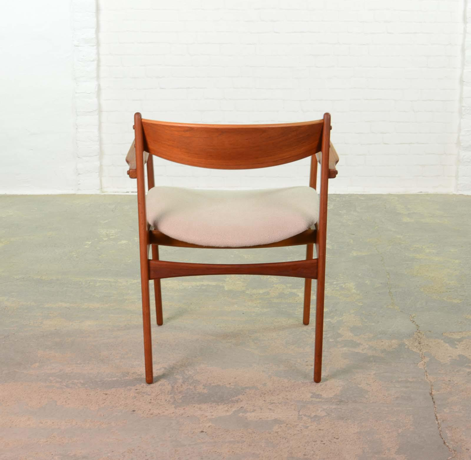 Mid Century Modern Danish Design Teakwood Desk Arm Side Chair By Erik Buch  For Oddense