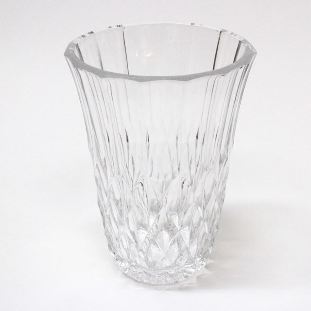 """Beautiful Val St Lambert Crystal Vase. Signed by the artist. Has a bright """"diamond"""" pattern that sparkles when light hits."""