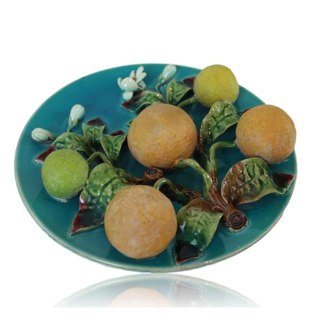 Victorian Menton French Majolica Wall Plaque on a Turquoise Ground With Oranges, Ca. 1880 For Sale - Image 3 of 10