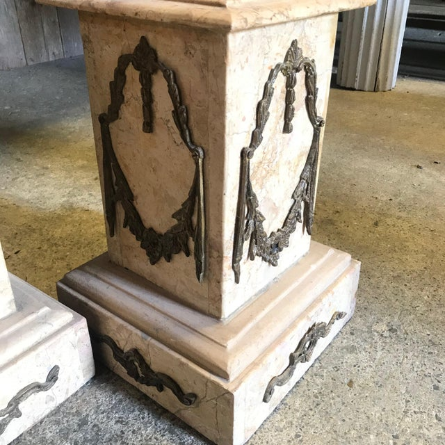 Metal 19th Century Marble & Bronze Pedestals Columns-a Pair For Sale - Image 7 of 11