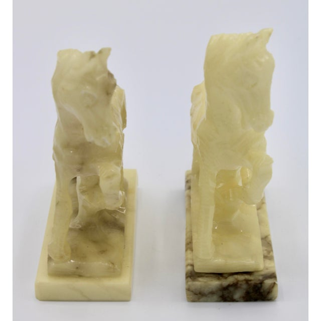Alabaster Mid-20th Century Italian Alabaster Mantle Horse Bookends - a Pair For Sale - Image 8 of 13