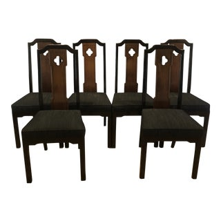 Thomasville 1970's Asian Chinoiserie Dining Chairs - Set of 6 For Sale