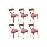 Image of A Set of 6 Biedermeier Mahogany Upholstered Shield Back Dining Chairs With a Brass Inlay For Sale