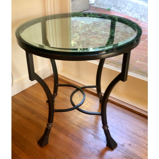 Kreiss Kreiss Luxury Home Iron & Glass Palomino Side End Occasional Table For Sale - Image 4 of 4