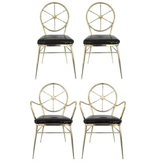 Set of Four Italian Gio Ponti Style Compass Back Chairs For Sale