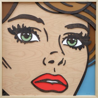 """If We Never Met"" Pop Art Birch Wood Dimensional Female Figurative Green Eyes Brunette Artwork For Sale"