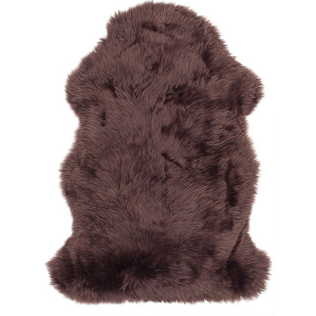 "100% Natural Sheepskin Rug, Chocolate - 2'0"" x 3'0"" - Image 1 of 2"