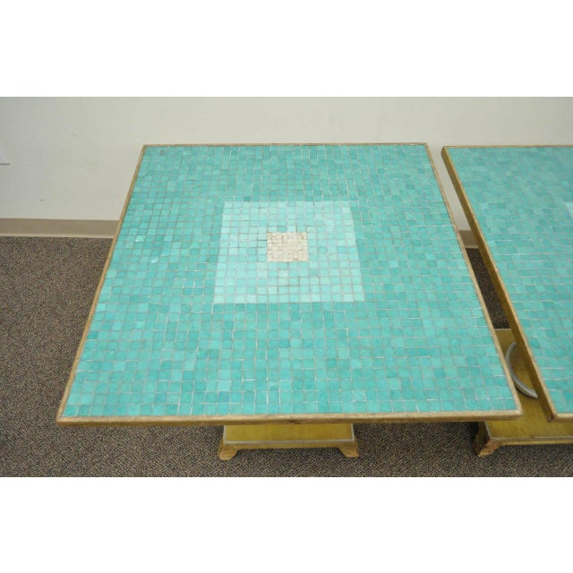 Hollywood Regency 1950s Italian Carved Wood Blue Tile Top Pineapple Pedestal Tables - a Pair For Sale - Image 3 of 10