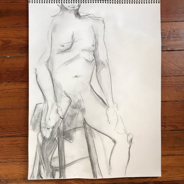 """Loose, figural drawing of male nude by artist Alice Houston Miles, 2013. Charcoal on heavyweight paper. Measures 18"""" x..."""