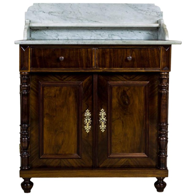 19th Century Basin Cabinet Veneer with Walnut For Sale