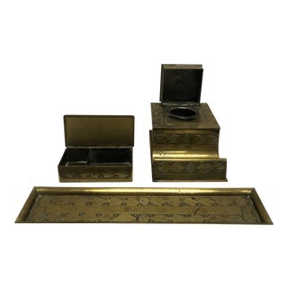 1910s Antique Art Nouveau Brass Tone Inkwell, Tray, and Paperclip Holder - Set of 3 For Sale