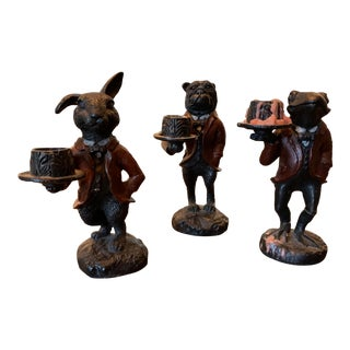 Solid Iron Animal Candle Holders - Set of 3 For Sale