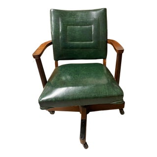 Antique Green Leather Swivel Office Chair For Sale