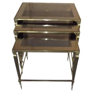 French Brass Nesting Tables, S/3 For Sale