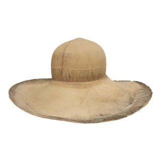 Vintage French Lacquered Canvas Hat Mold For Sale