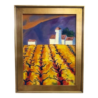 Rossi Vineyard Original Oil Painting Landscape For Sale
