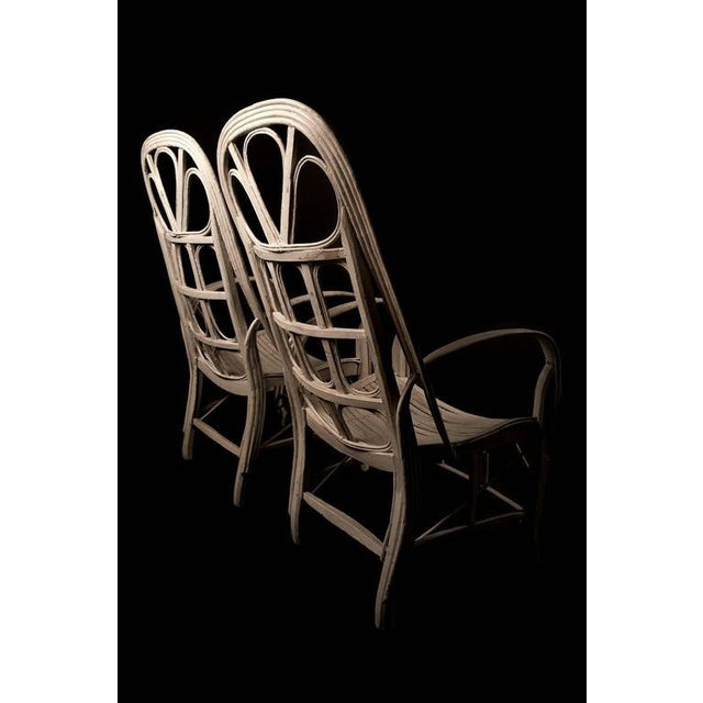 Pair of Large Elegant White Cane Conservatoire Chairs - France, early 20th Century - Image 4 of 8