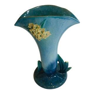 Vintage Roseville Turquoise Vase For Sale