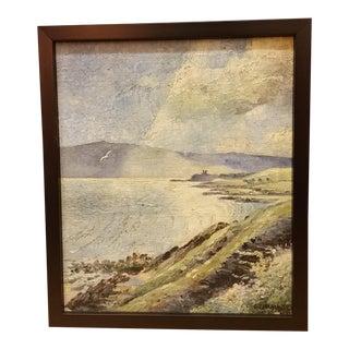 Coastal Seascape Framed Oil on Canvas Painting