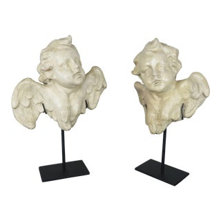 Pair of Papier Mâché Cherubs on Iron Bases For Sale