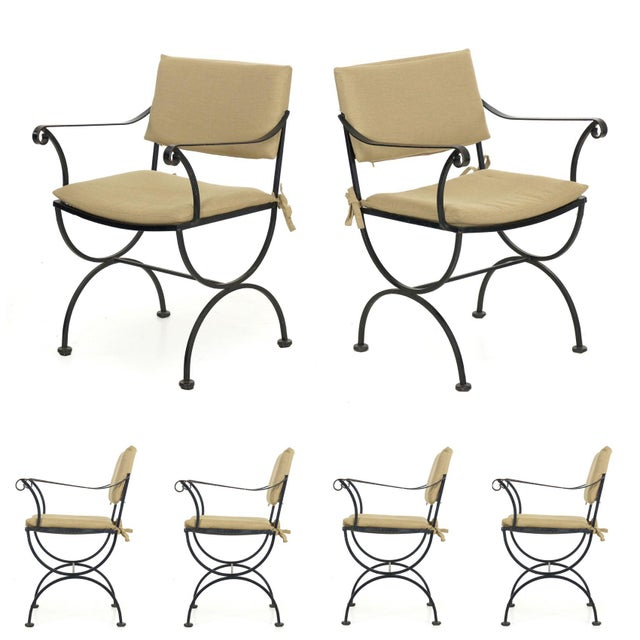 Set of Six Salterini Style Black Iron Patio Dining Chairs, Mid 20th Century For Sale - Image 13 of 13